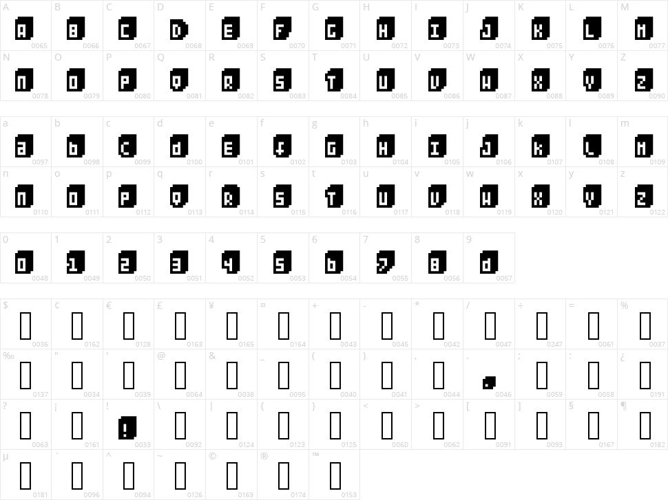 Pixeliza 20 Character Map