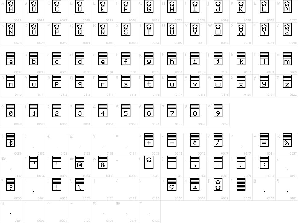 Pixelstars & Stripes Character Map