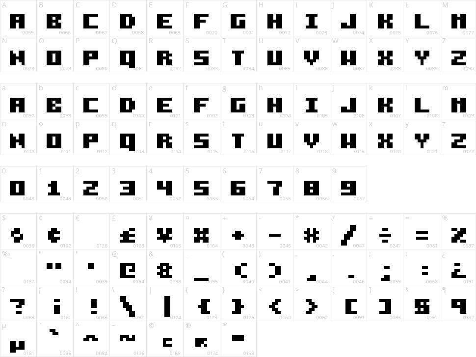 Pixelzim 3x5 Character Map
