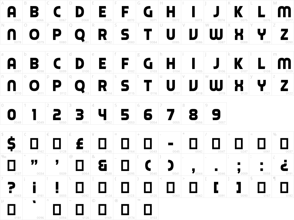 Piximisa Character Map