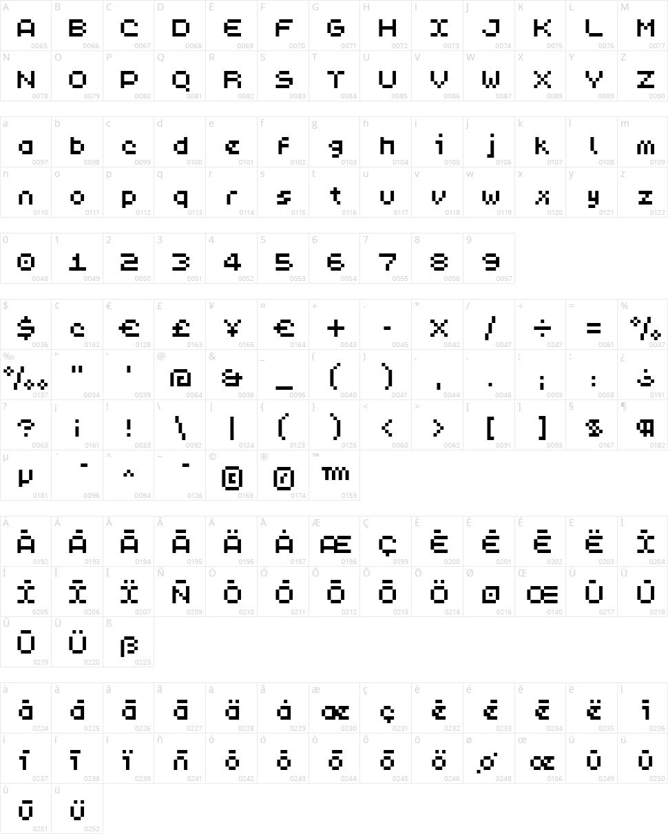 PixL Character Map