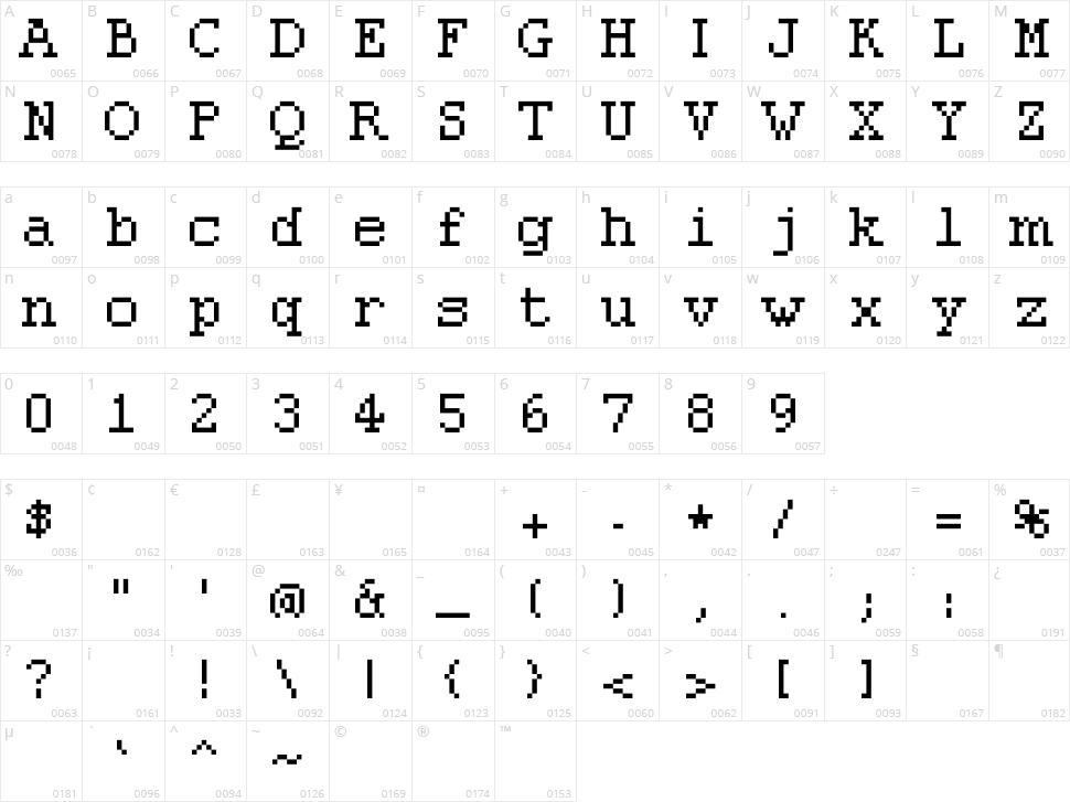 Pixolde Character Map