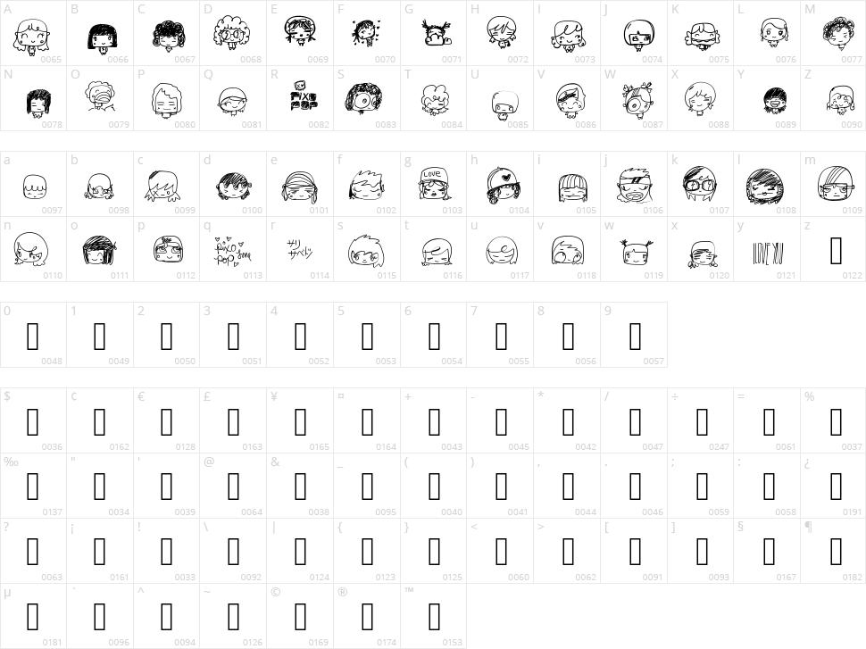 Pixopop Kawaii Girls Character Map
