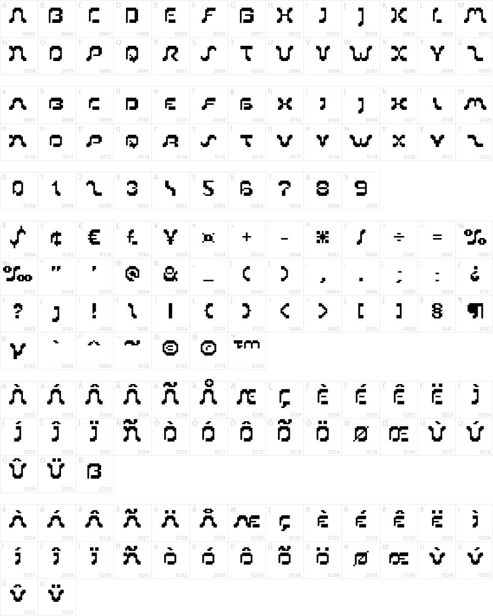 PIXoriental 9 Character Map