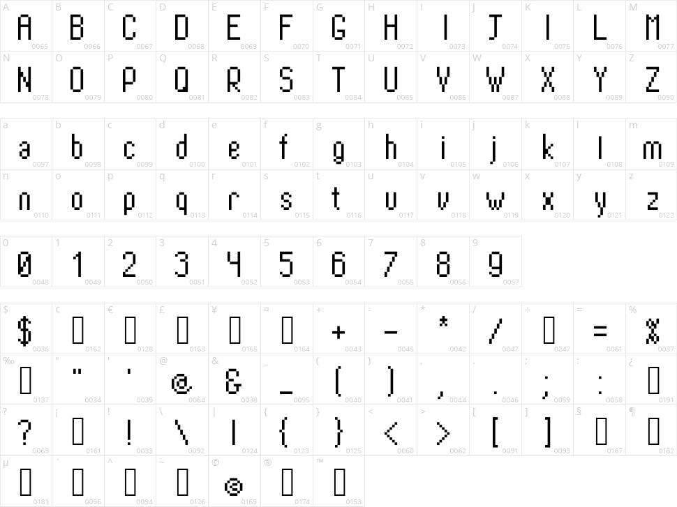 PixTall Character Map