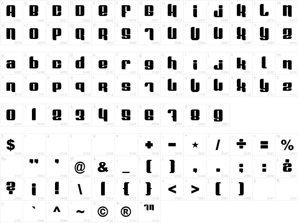 Plasmafuzion Character Map