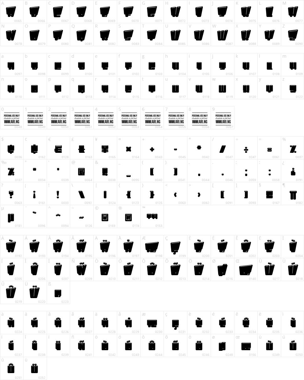 Pligo Character Map