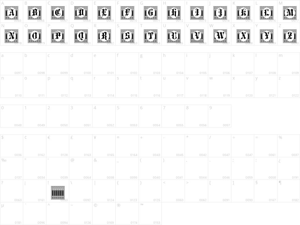 Portculliard Initials Character Map