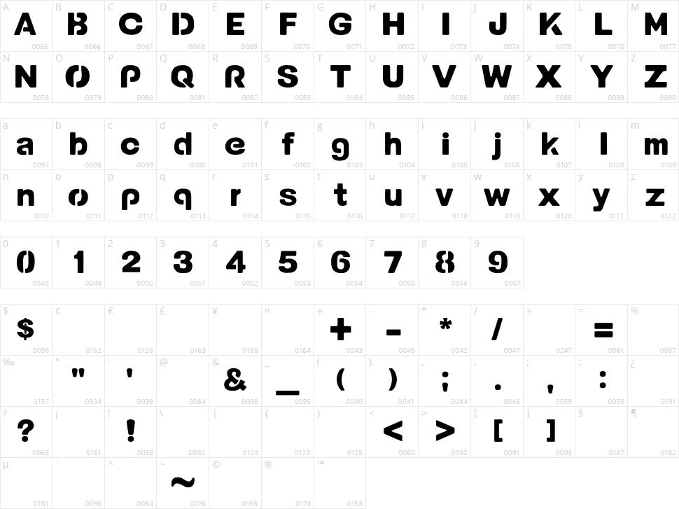 Potama Character Map