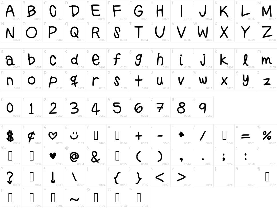 Preppy Girls Handwriting Character Map