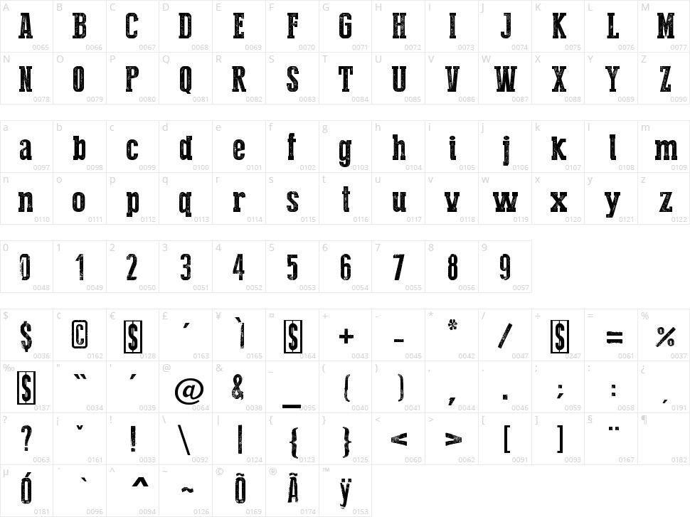 Press Style Serif Character Map