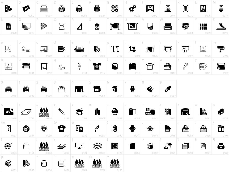 Printing Character Map