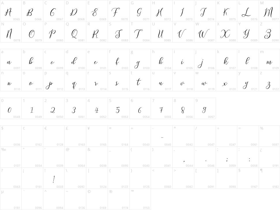 Prologue Script Lite Character Map