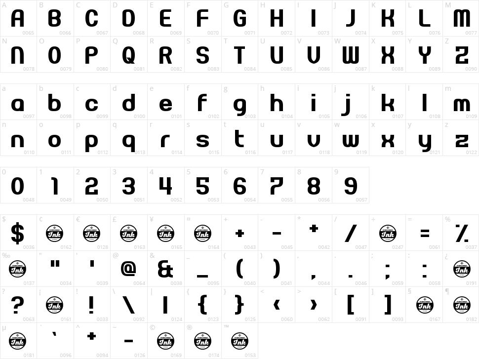 Pseudonumb Character Map