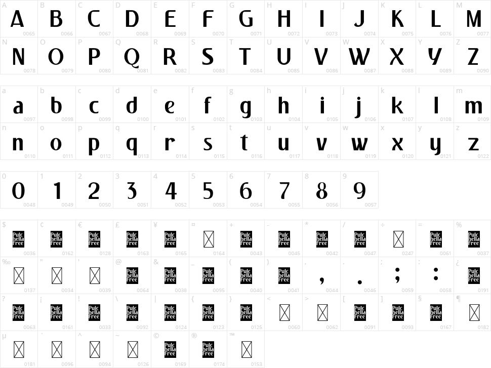 Pulchella Character Map