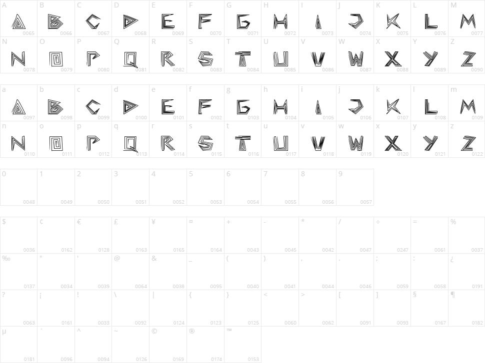 Pyramid Inverted Character Map
