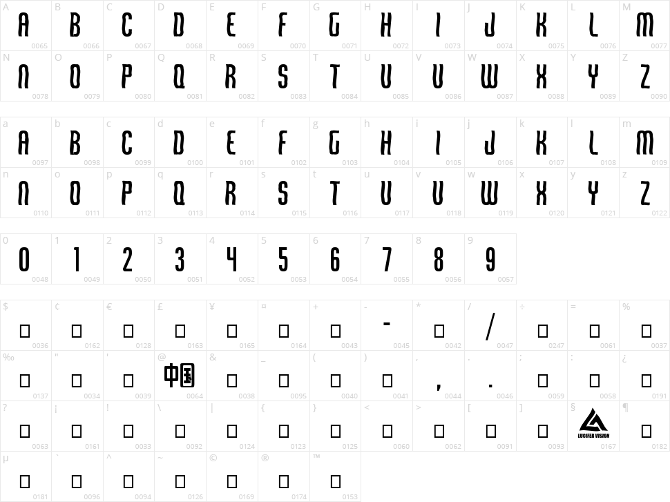 Qirof Character Map