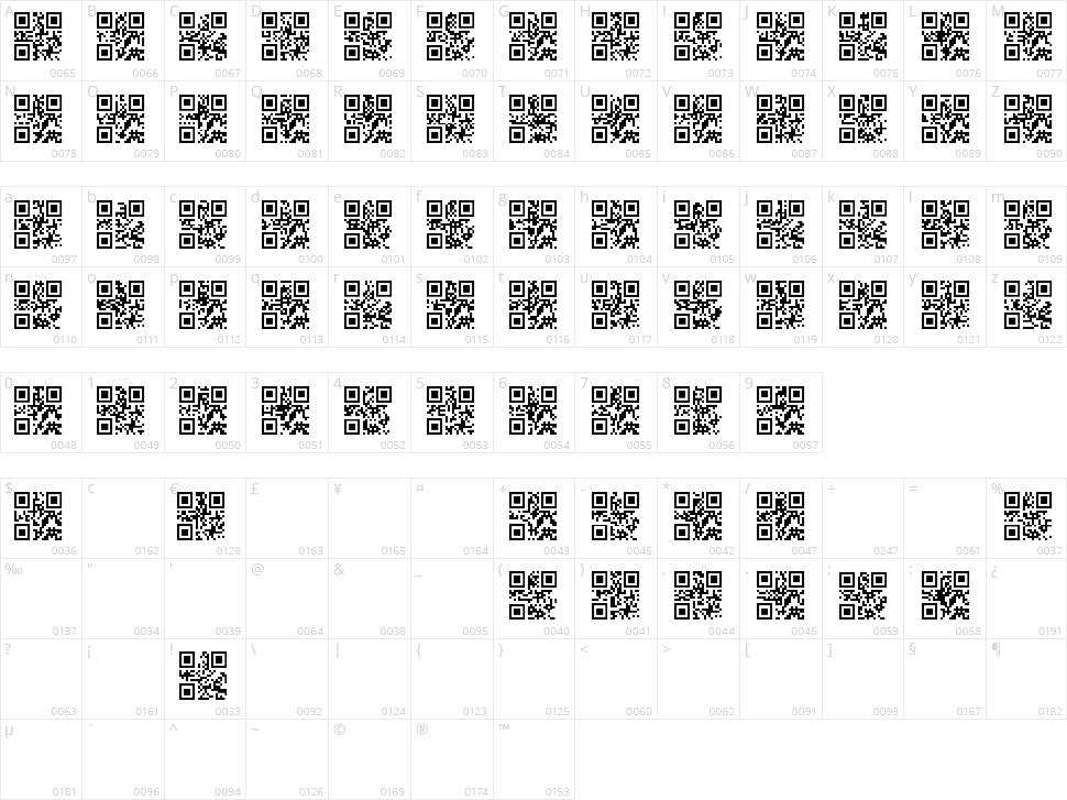 QR font TFB Character Map
