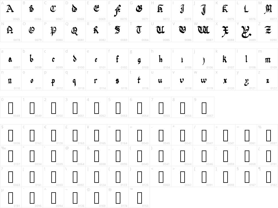 Quadrata Preciosa Character Map