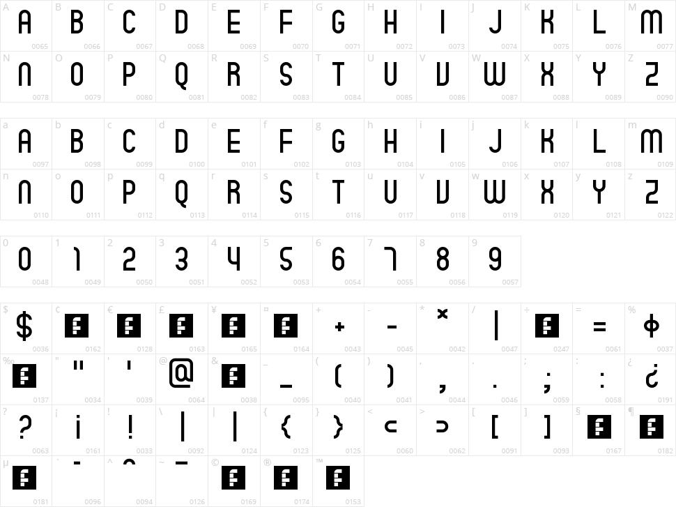 Quatro Character Map