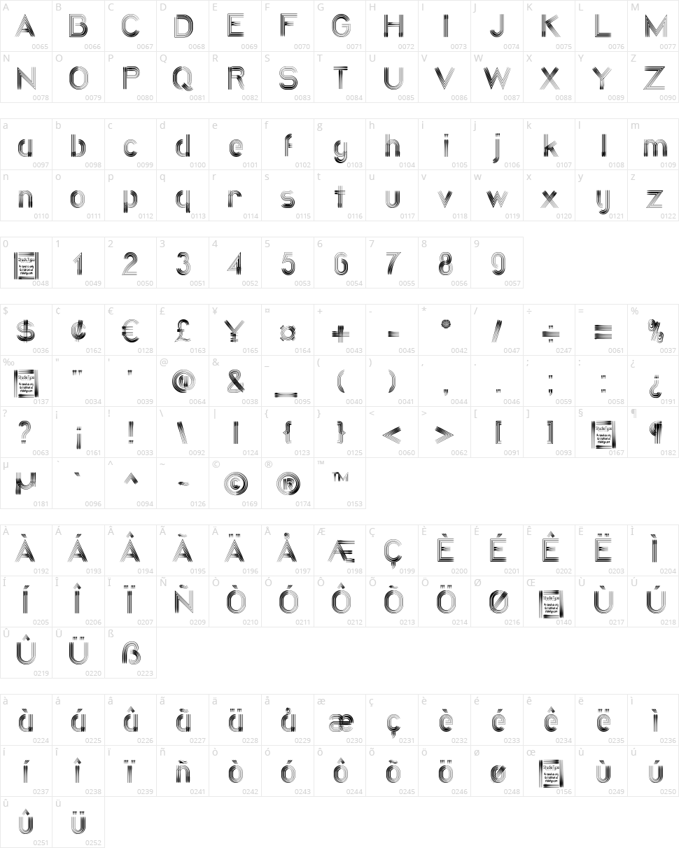 Quatroline Character Map