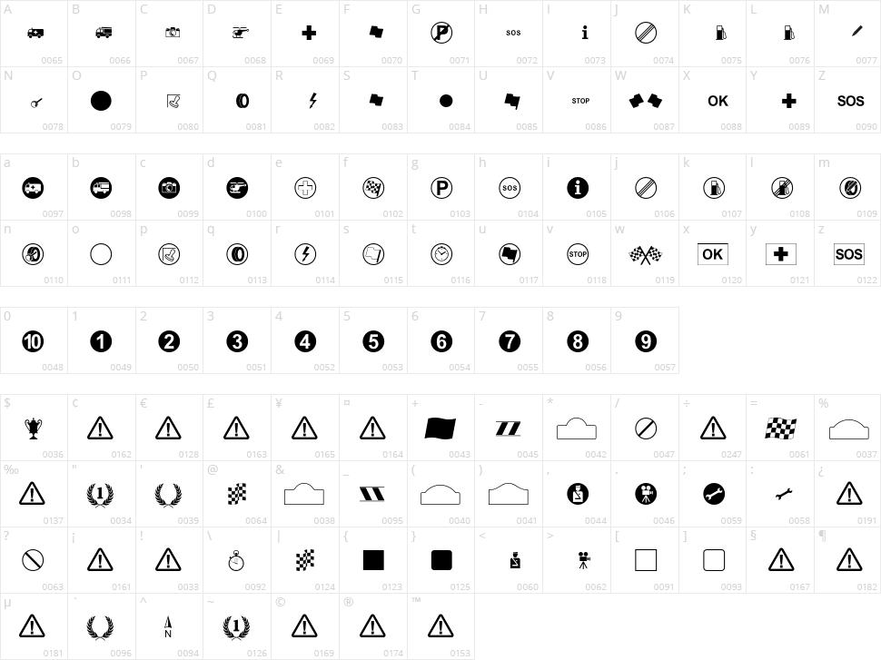 Rally Symbols Character Map