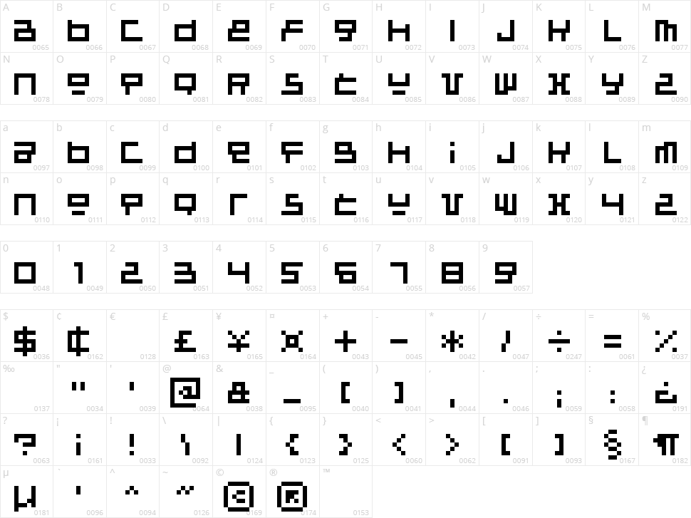 Raumsonde Character Map