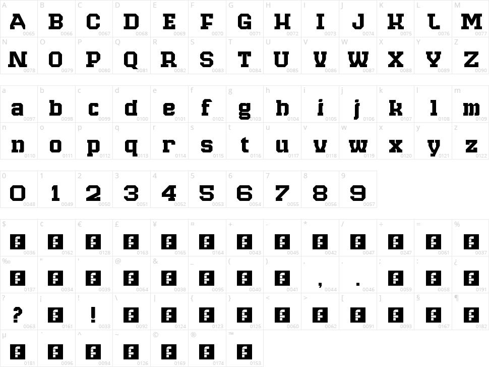 Raven Slab Character Map