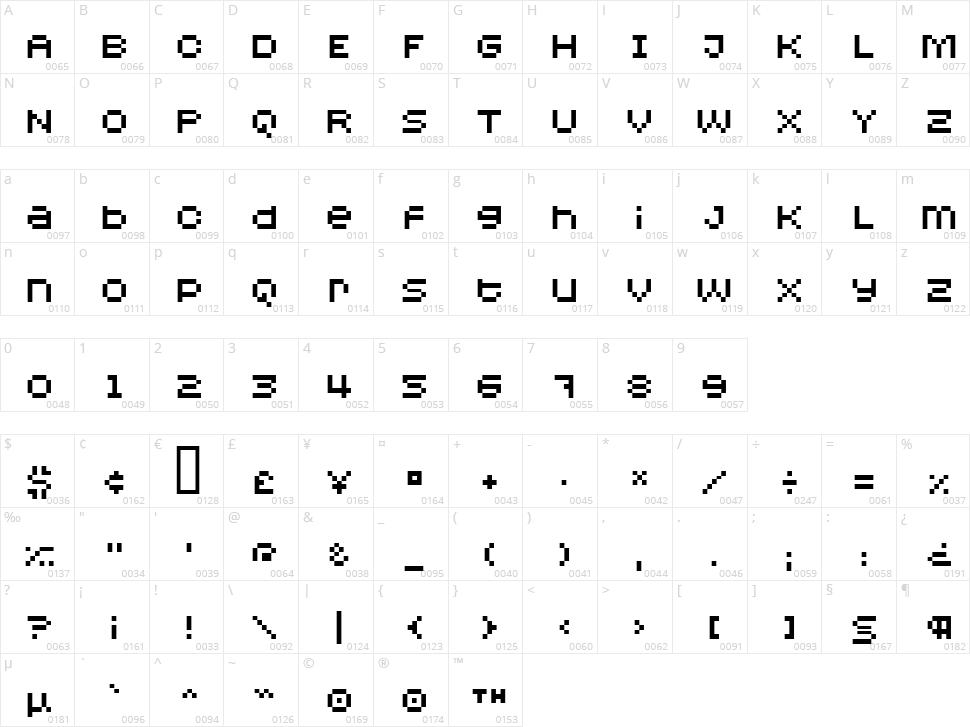 Redensek Character Map