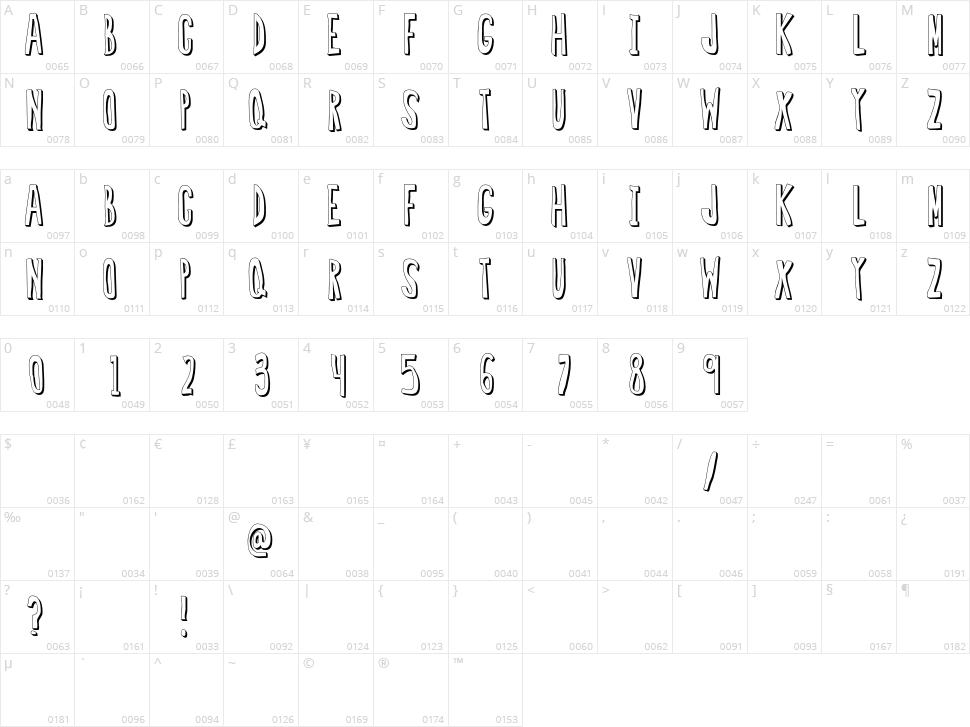 Regular Font Character Map