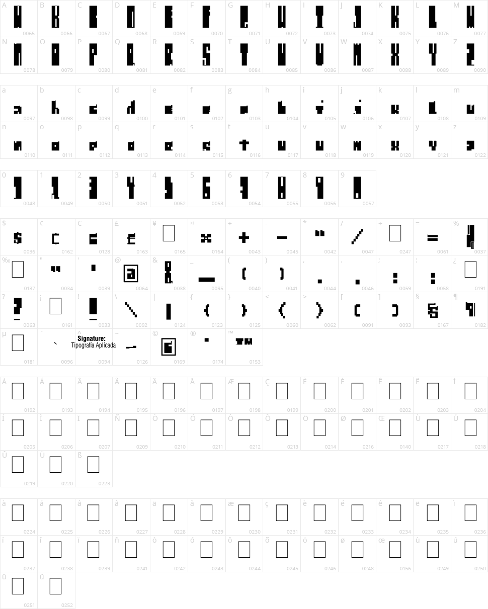 Regulus Cubiculus Character Map