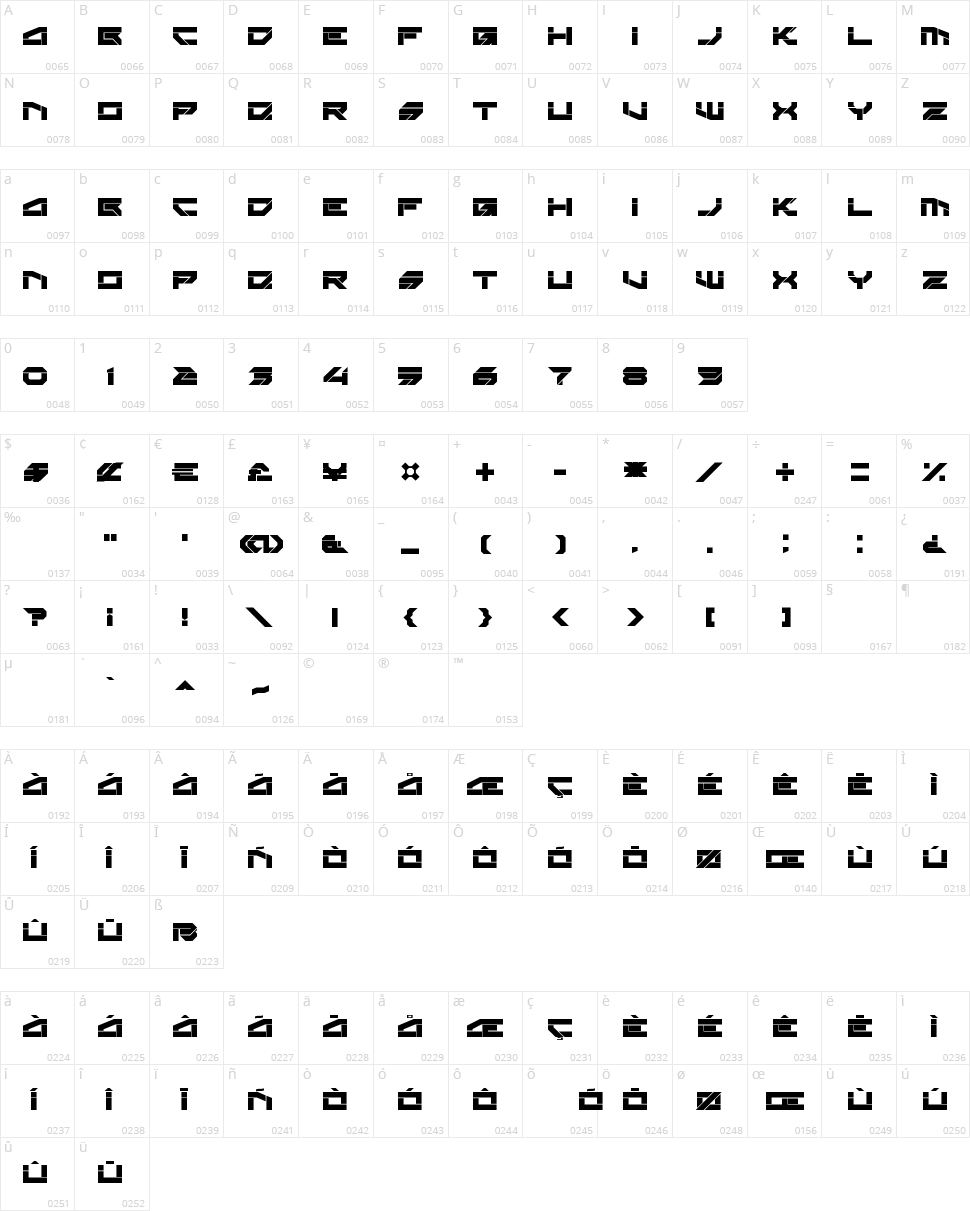 Rektec Character Map