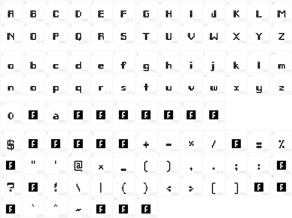 Remodula Character Map