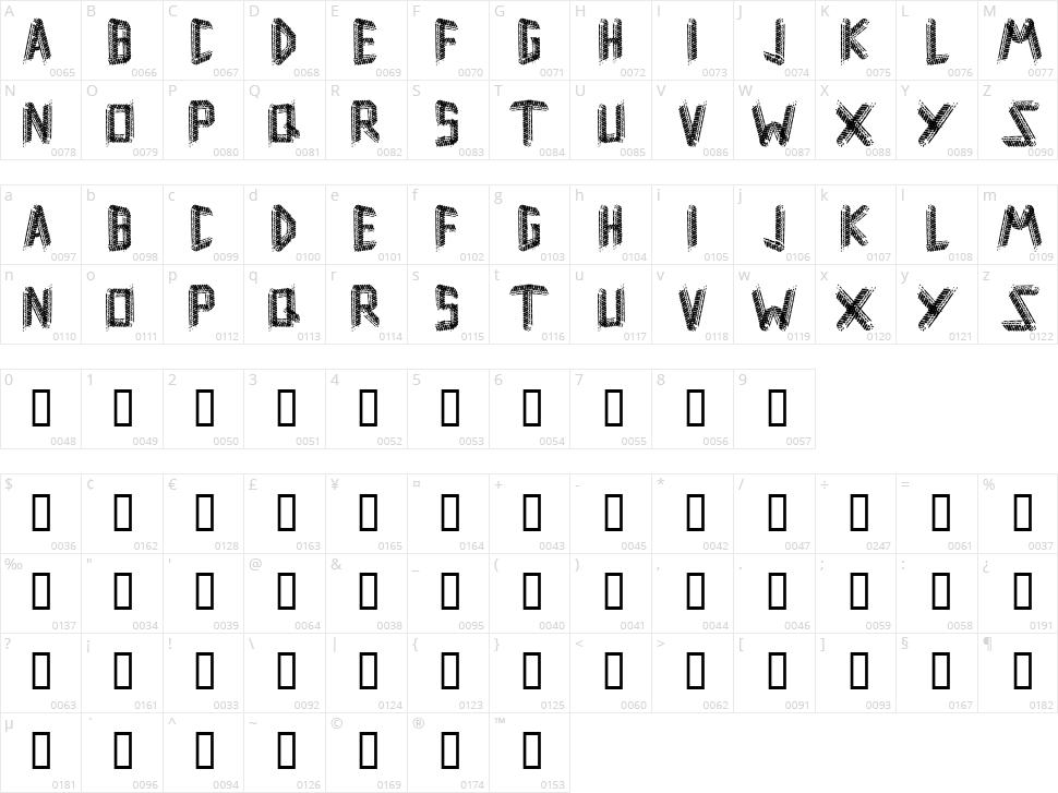 Remsporen Character Map