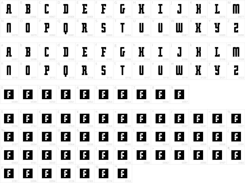 Retro serif Character Map