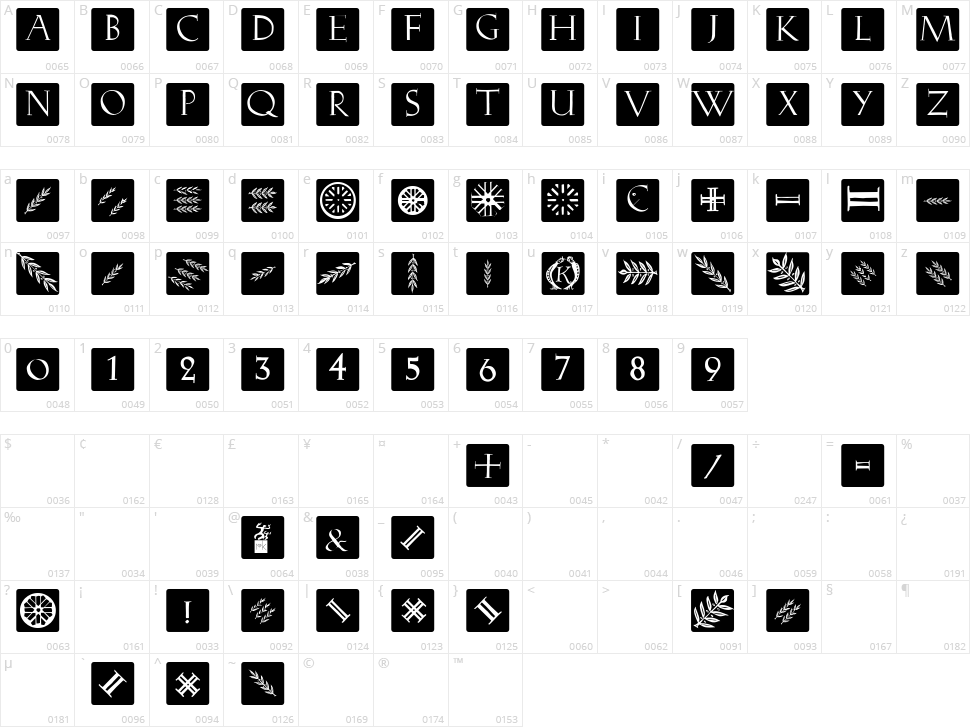 Romana Caps Classic Squares Character Map