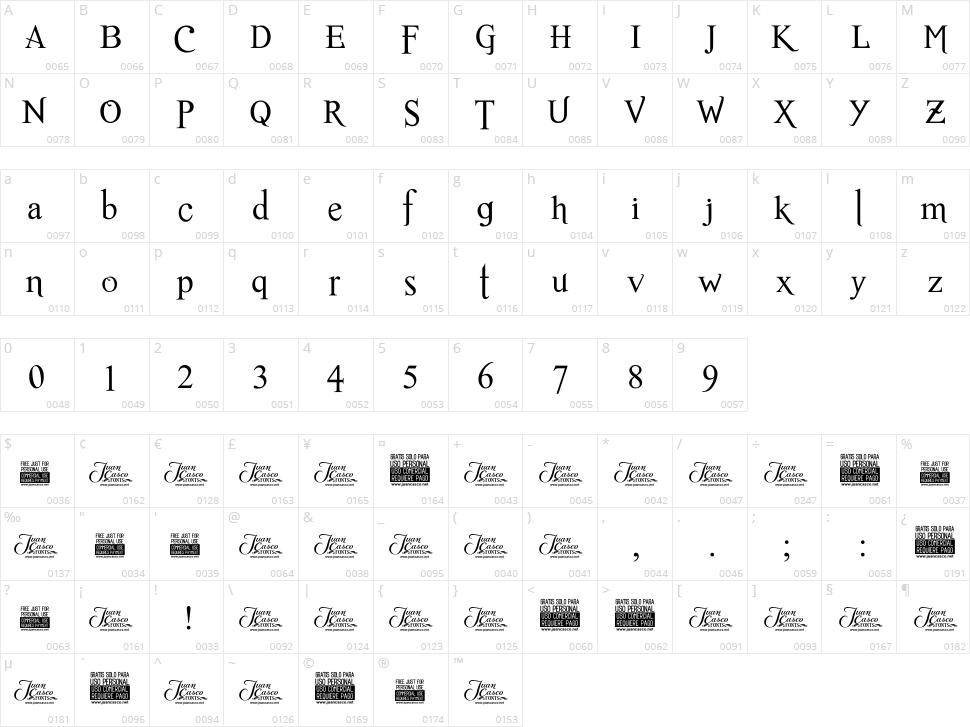 Romance Fatal Serif Character Map