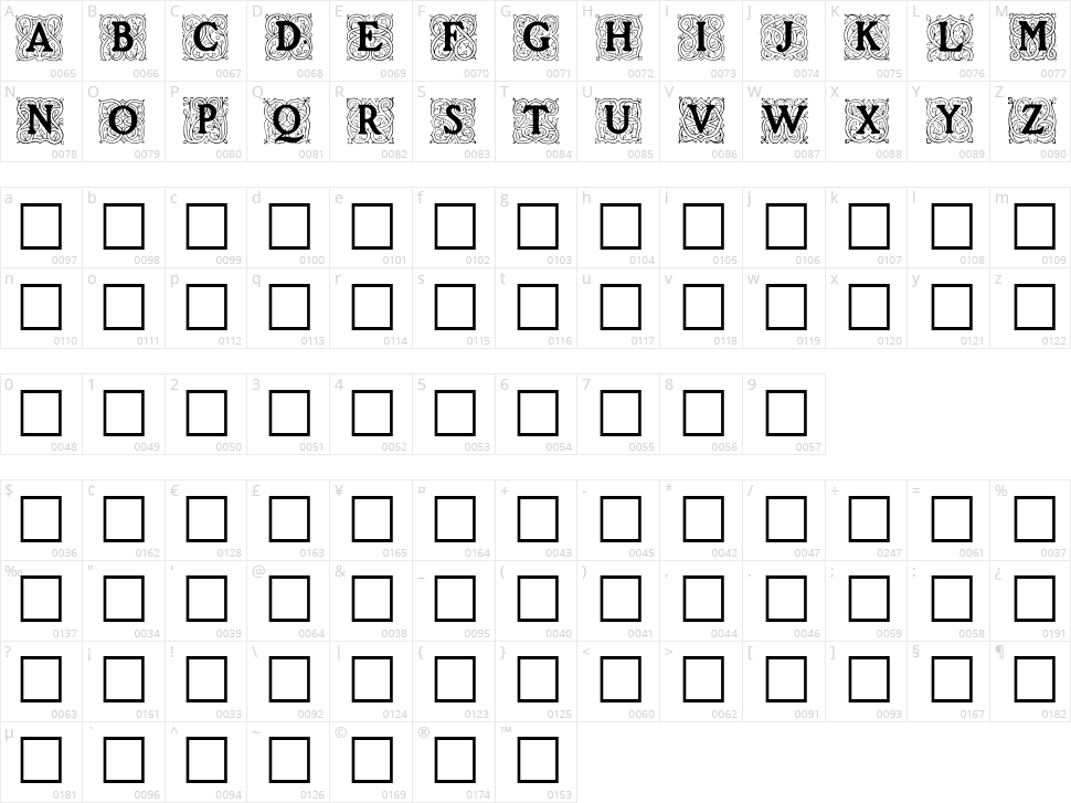 Roycroft Initials Character Map