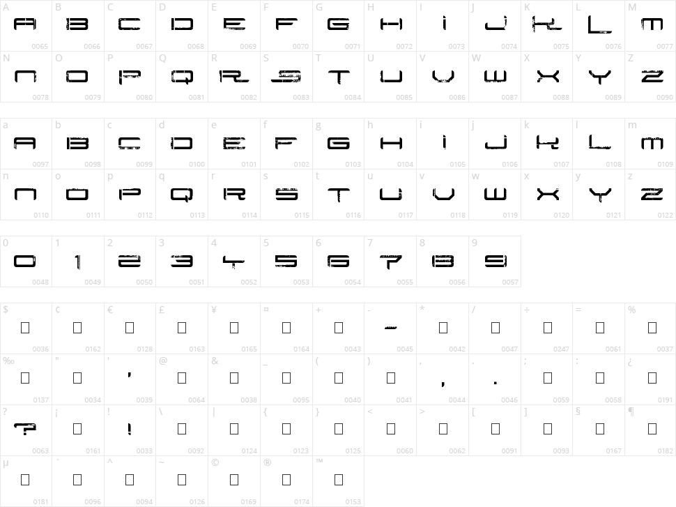 Rysky Lines Character Map