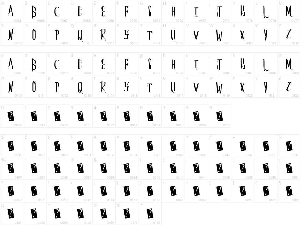 Saber Husk Character Map