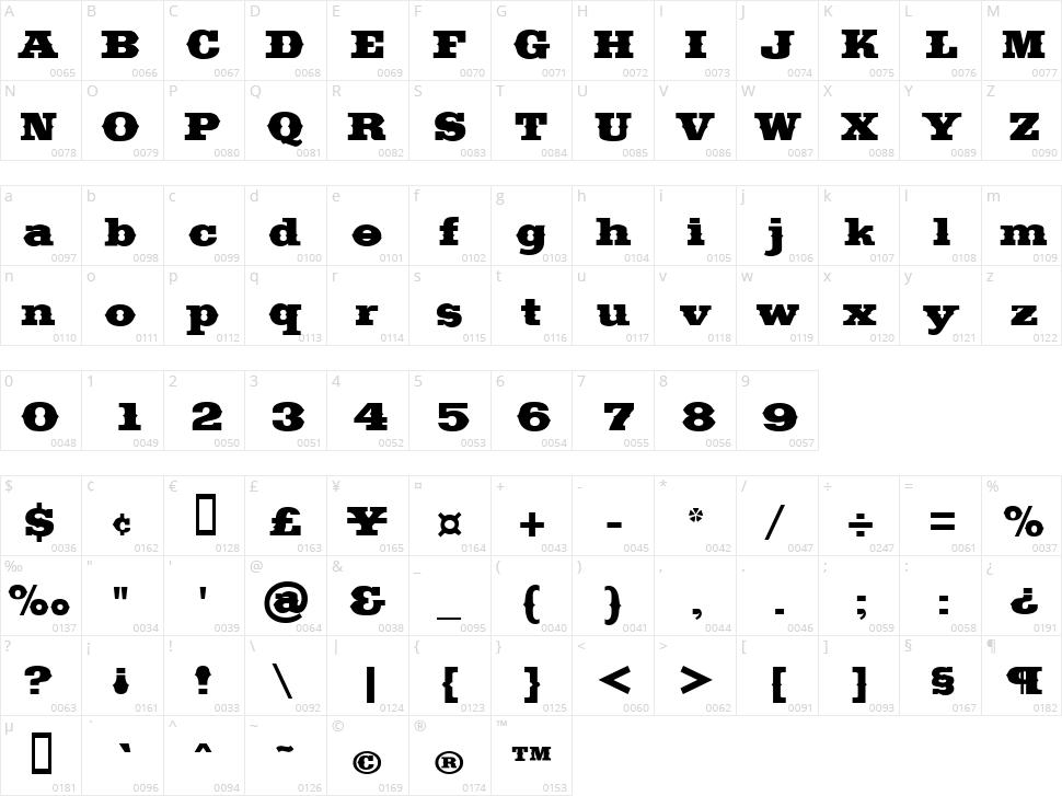 Saddlebag Character Map