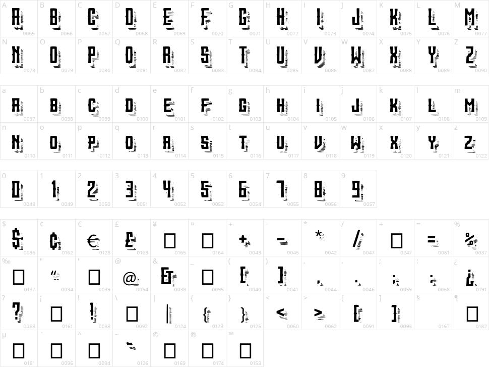 Sanctum ShadeLines Character Map