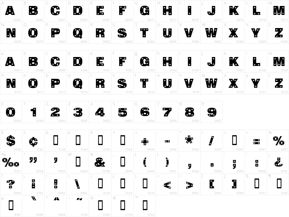 Sans Plate Caps Character Map