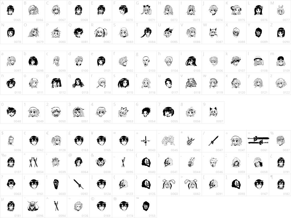 SAO Image Character Map