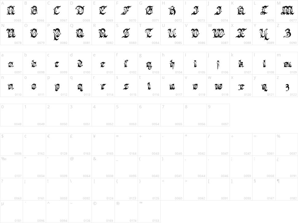 Saraband Character Map