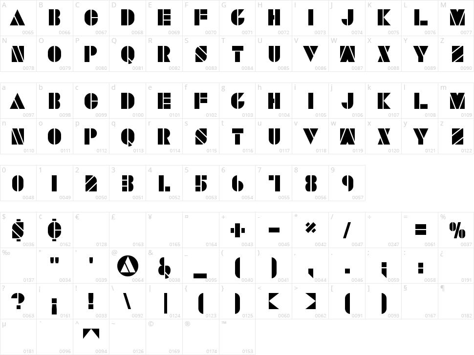 Savaro Stencil Character Map