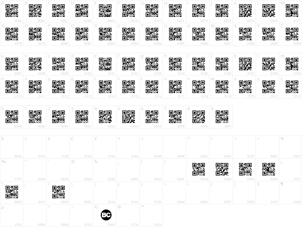 Scan me  Character Map