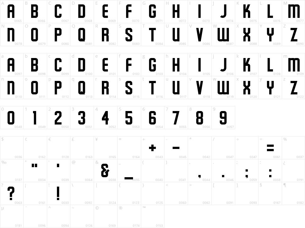 Schluber Character Map