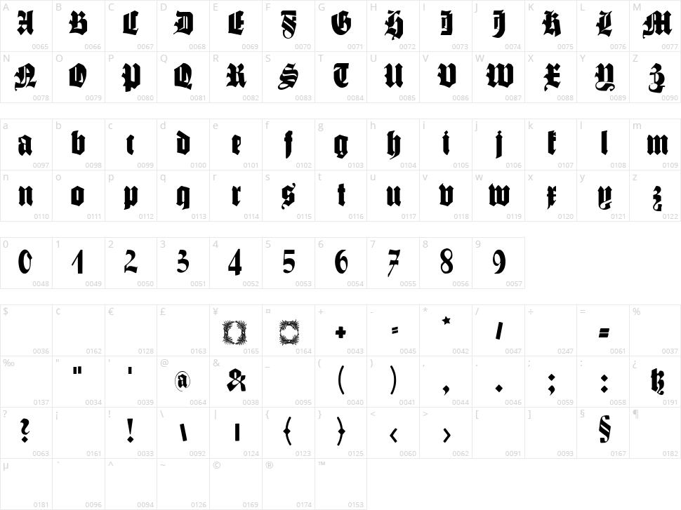 Schmale Gotisch MK Character Map