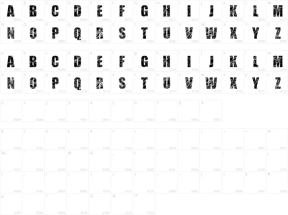 Scratched Letters Character Map